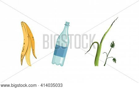 Garbage And Waste With Plastic Bottle And Banana Peel Vector Set
