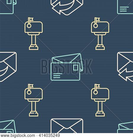 Set Line Outgoing Mail, Mail Box And Envelope On Seamless Pattern. Vector