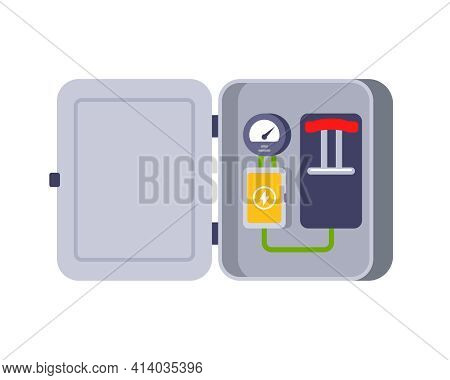 Iron Box With Electrical Equipment. A Switch To Turn Off The Electricity. Flat Vector Illustration O