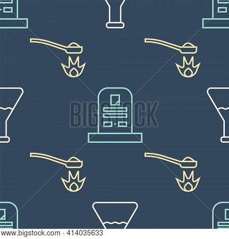 Set Line Test Tube And Flask, Heroin In A Spoon And Tombstone With Rip Written On Seamless Pattern.
