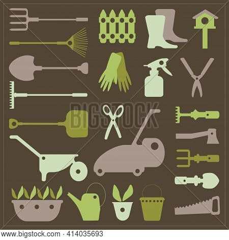 An Image Of A Vegetable Garden And Gardening Tools. Gardener Day