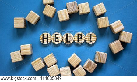 Support And Help Symbol. Wooden Circles With The Word 'help'. Business, Psychology, Support And Help