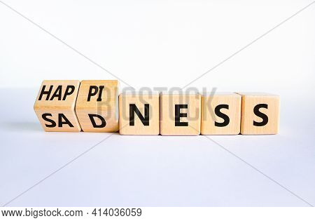 Happiness Or Sadness Symbol. Turned Cubes And Changed The Word 'sadness' To 'happiness'. Beautiful W