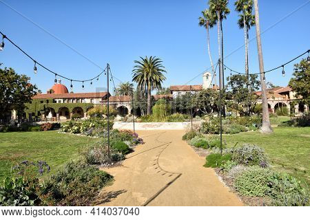 SAN JUAN CAPISTRANO, CALIFORNIA - 12 JAN 2017: Central Courtyard of Mission San Juan Capistrano.
