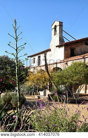 SAN JUAN CAPISTRANO, CALIFORNIA - 12 JAN 2017: Bell Tower at Mission San Juan Capistrano.