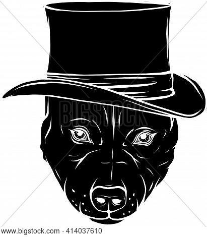 Black Silhouette Of Pitbull Dog With Hat Vector Illustration Design