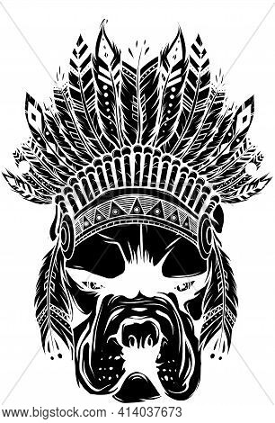 Black Silhouette Of Pitbull Dog Head With Indian Hat, Vector Illustration