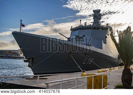 Valletta, Malta - November 23, 2016: Royal Danish Navy Absalon-class L16 Frigate Hdms Absalon Combat