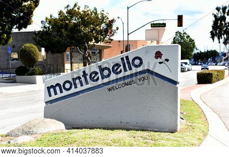 MONTEBELLO, CALIFORNIA - 12 MAR 2021: Welcome to Montebello sign in the median on Beverly Boulevard.