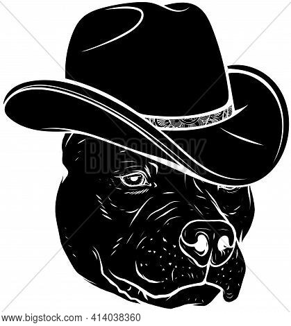 Black Silhouette Of Head Pitbull With Fedora Hat Vector Illustration