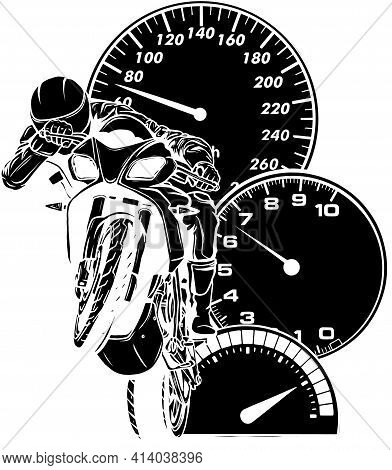 Black Silhouette Of Motorbike With Rider Vector. Road Motorcycle Racing