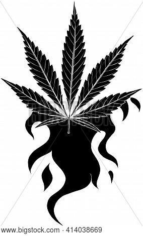 Black Silhouette Of Leaf Hemp Fiery Vector Illustration Design