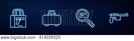 Set Line Pistol Or Gun Search, Buying Pistol, Weapon Case And Mauser. Glowing Neon Icon On Brick Wal
