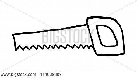 Hand Drawn Saw. Vector Sawing Tool. Carpenter Tool Saw Tool. Sketch Hand Saw. Handsaw, Hand Drawn Do