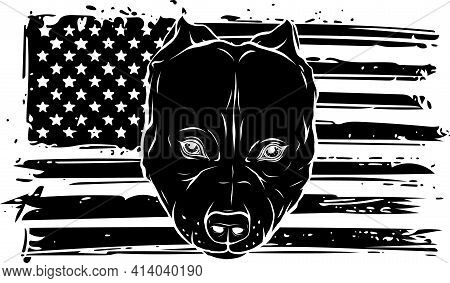 Black Silhouette Of Head Of Aggressive Bully Dog With American Flag