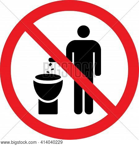 No Littering In Toilet Sign. Do Not Litter In Toilet. Signs And Symbols.