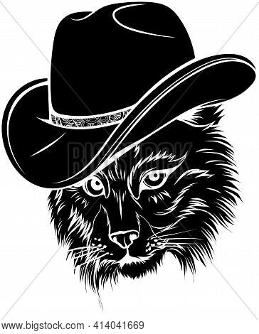 Black Silhouette Of Wild Cat, Lynx, Bobcat, Trot Hand Top Hat, Cylinder.