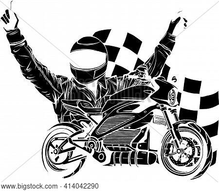 Black Silhouette Of Motorbike Rider With Face Flag Vector Illustration