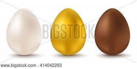Vector Set Three Eggs For Easter. White, Golden And Chocolate Eggs For Easter. Vector Egg.
