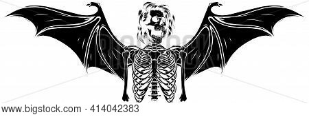 Black Silhouette Of Human Skeleton With Bat Wings Vector Illustration