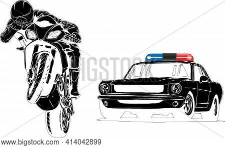 Black Silhouette Of Police Car Is Chasing A Criminal On A Motorcycle.