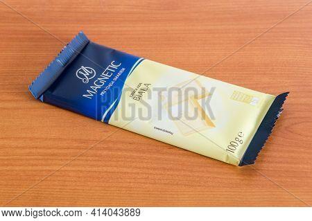 Pruszcz Gdanski, Poland - March 24, 2021: Bar Of Magnetic White Chocolate.