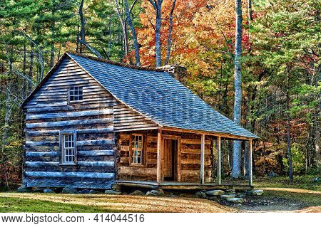 Horizontal Shot Of A Smoky Mountain Pioneer Cabin.  This Is A Revised Image.