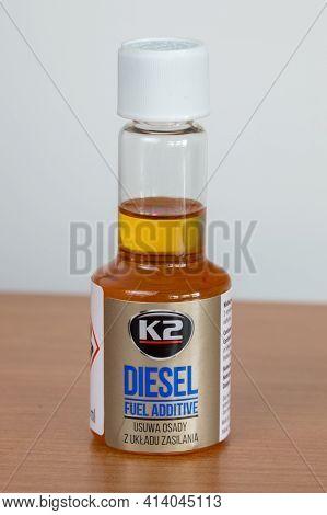 Pruszcz Gdanski, Poland - March 24, 2021: Bottle Of K2 Diesel Fuel Additive For Fuel Injector Clean.