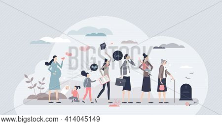 Life Cycle With Female Growth, Evolution Or Aging Process Tiny Person Concept