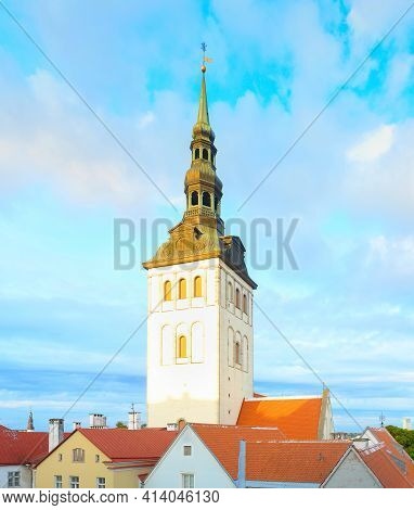 Saint Nicholas Church At Sunset. Tallinn, Estonia
