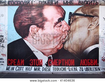 Kiss Of Honecker And Brezhnev On Berlin Wall