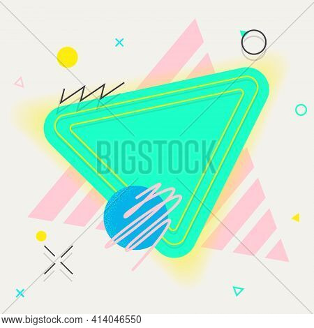 Abstract Shapes And Frame Illustration. Composition Of Geometric Elements.bright, Colourful.template