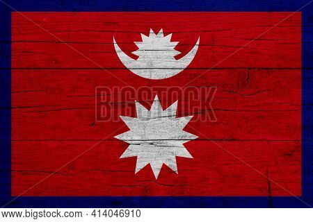 Flag Of Nepal. Wooden Texture Of The Flag Of Nepal.