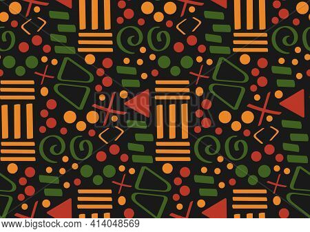 Tribal African Ethnic Seamless Pattern With Simple Lines And Figures In Red, Yellow And Green. Vecto