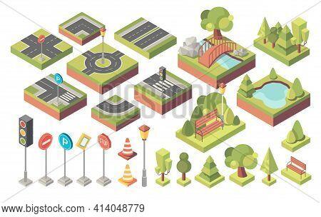 Set Of City Street Parts. Roads, Crossroads, Lawn, Trees, Bushes, Bridges, Traffic Lights, Road Sign