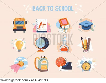 Back To School Collection Of Badges Or Stickers For Students With School Supplies, School Bus, Globe