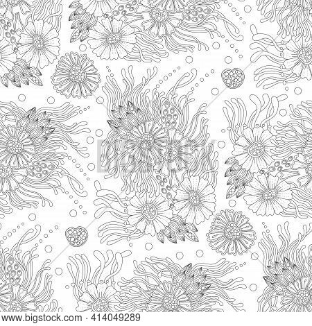 Monochrome Doodle Bohemian Flower Seamless Pattern For Adult Coloring Book. Black And White Floral O