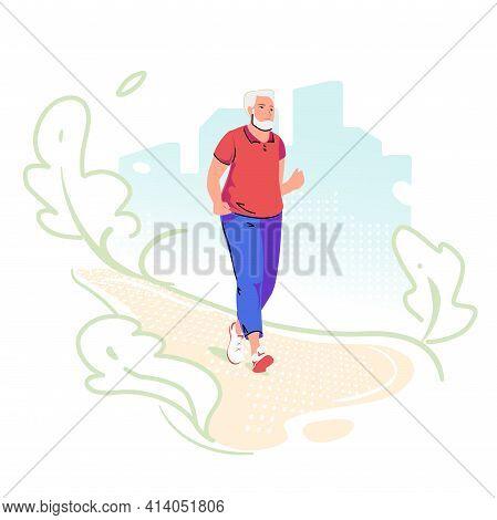 Running Senior Elderly Man On Green City Background. Sport, Fitness For Pensioner. Active Lifestyle
