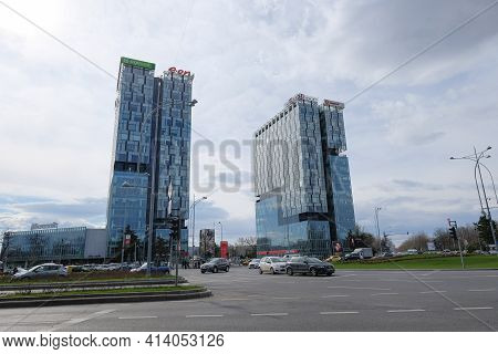 Bucharest, Romania - March 6 2019: City Gate Towers Skyscaper Buildings On Bucharest Downtown, Roman