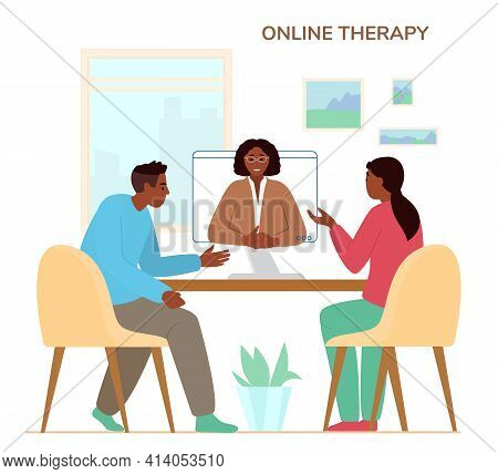 Online Family Therapy Concept Flat Vector Illustration. African American Couple Discussing Their Pro