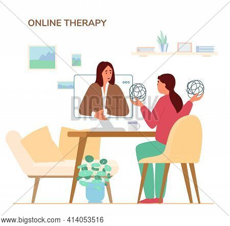 Online Psychotherapy Session Concept.woman Talking About Her Problems To Woman Psychologist By Video