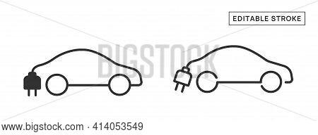 Electric Car Vector Icon Sign. Editable Stroke.