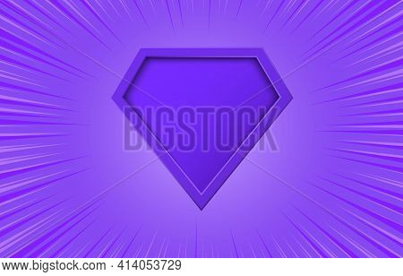Superhero Logo Violet With Motion Radial Lines On Purple Background. Blank Comic Super Hero Icon. Em