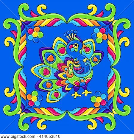 Mexican Talavera Ceramic Tile Pattern With Tropical Peacock. Traditional Decorative Objects.
