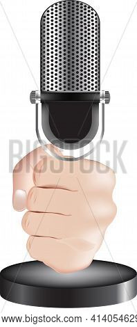 Hand Squeezes Microphone Handle Hand Squeezes Microphone Handle