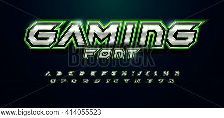 Modern Futuristic Font For Video Game Logo And Headline. Bold Letters With Sharp Angles And Green Ou