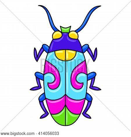Decorative Ornamental Stylized Beetle. Mexican Ceramic Cute Naive Art.