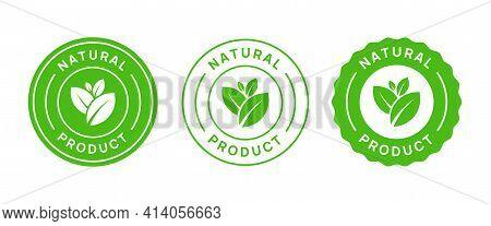 Natural Product Vector Icon Circle Sign. Healthy Food Emblem. Organic Food Badge.