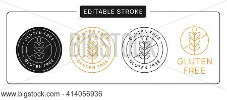 Gluten Free Vector Icon Sticker Badge. Wheat Linear Sign With Editable Stroke.