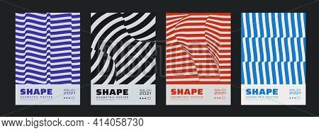 Collection Of Swiss Design Striped Posters. Meta Modern Graphic Elements. Abstract Modern Geometric
